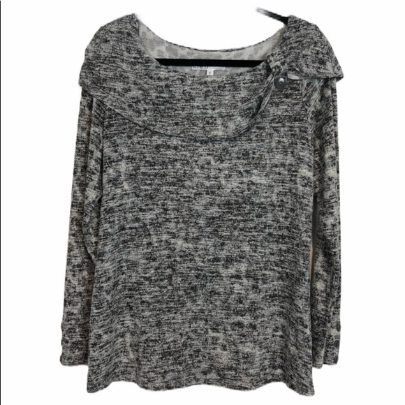 Cleo Cute Grey Sweater with Button Details Size M